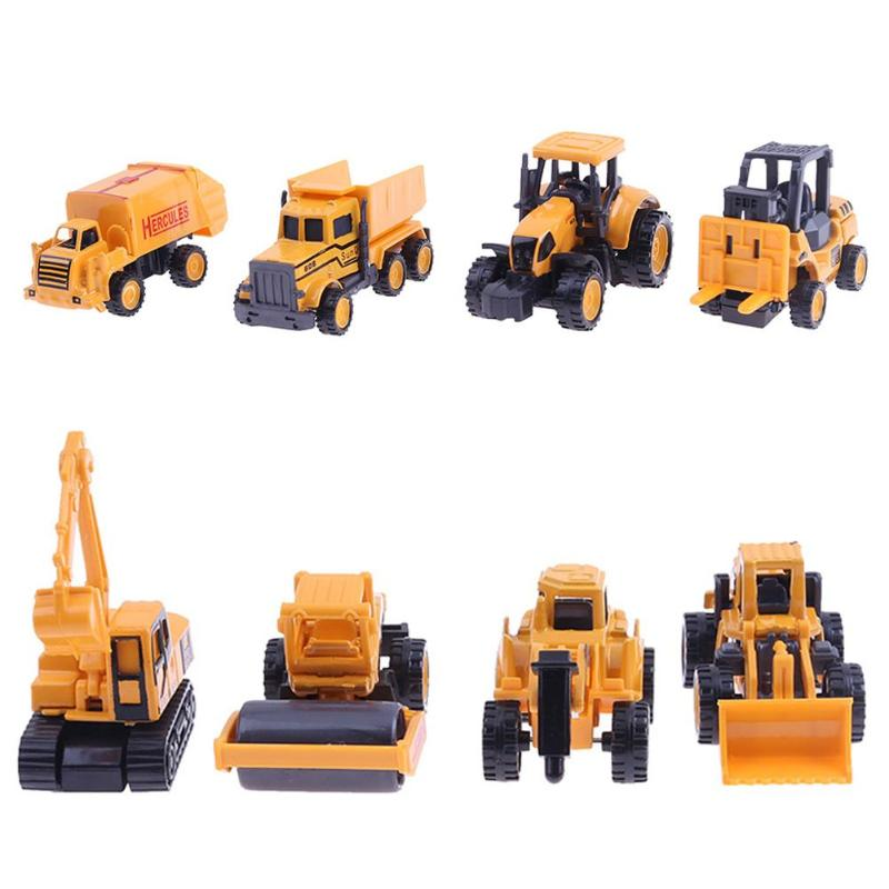 Baby Toys 4pcs Alloy Engineering Car Tractor Toys for Children Dump Truck Model 1:64 Mini Vehicle Sets Kids Birthday Gift