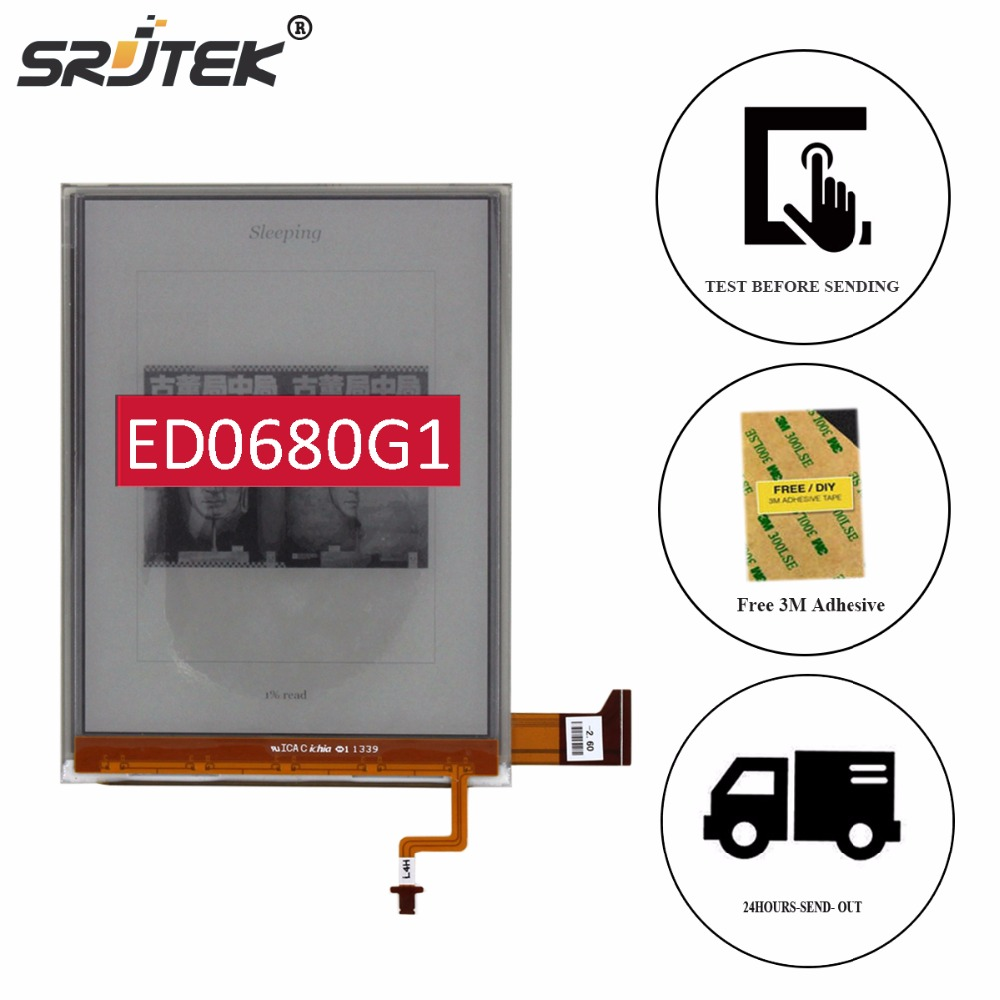 Srjtek 6 Part For ED068OG1 ED0680G1 for KOBO Aura H2O Reader E-book LCD Display with Backlight Cable Replacement original new lcd screen ed068tg1 for kobo aura h2o kobo aura h20 with backlight reader e book lcd displayl free shipping