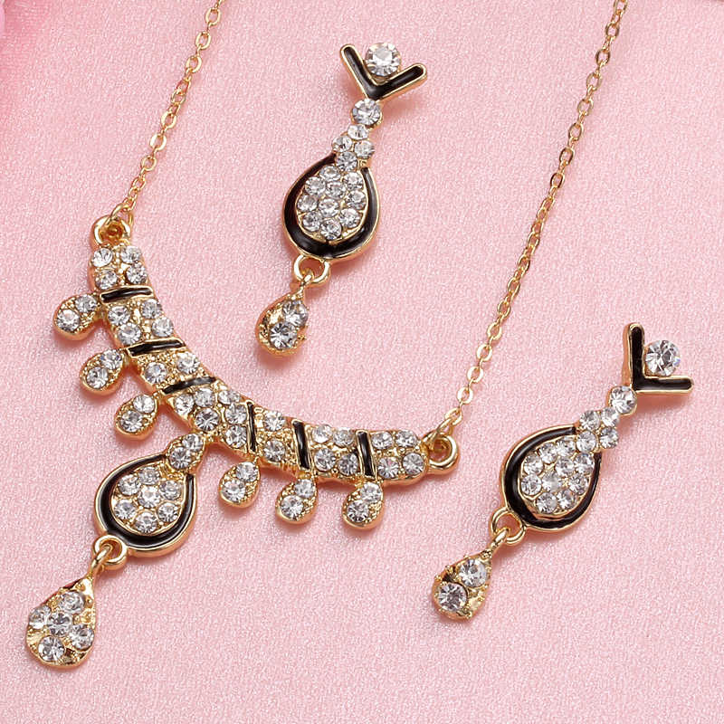 Fashion African Dubai Gold Jewelry Nigerian Crystal Necklace Drop Earrings Women Italian Bridal Jewelry Sets Wedding Accessories