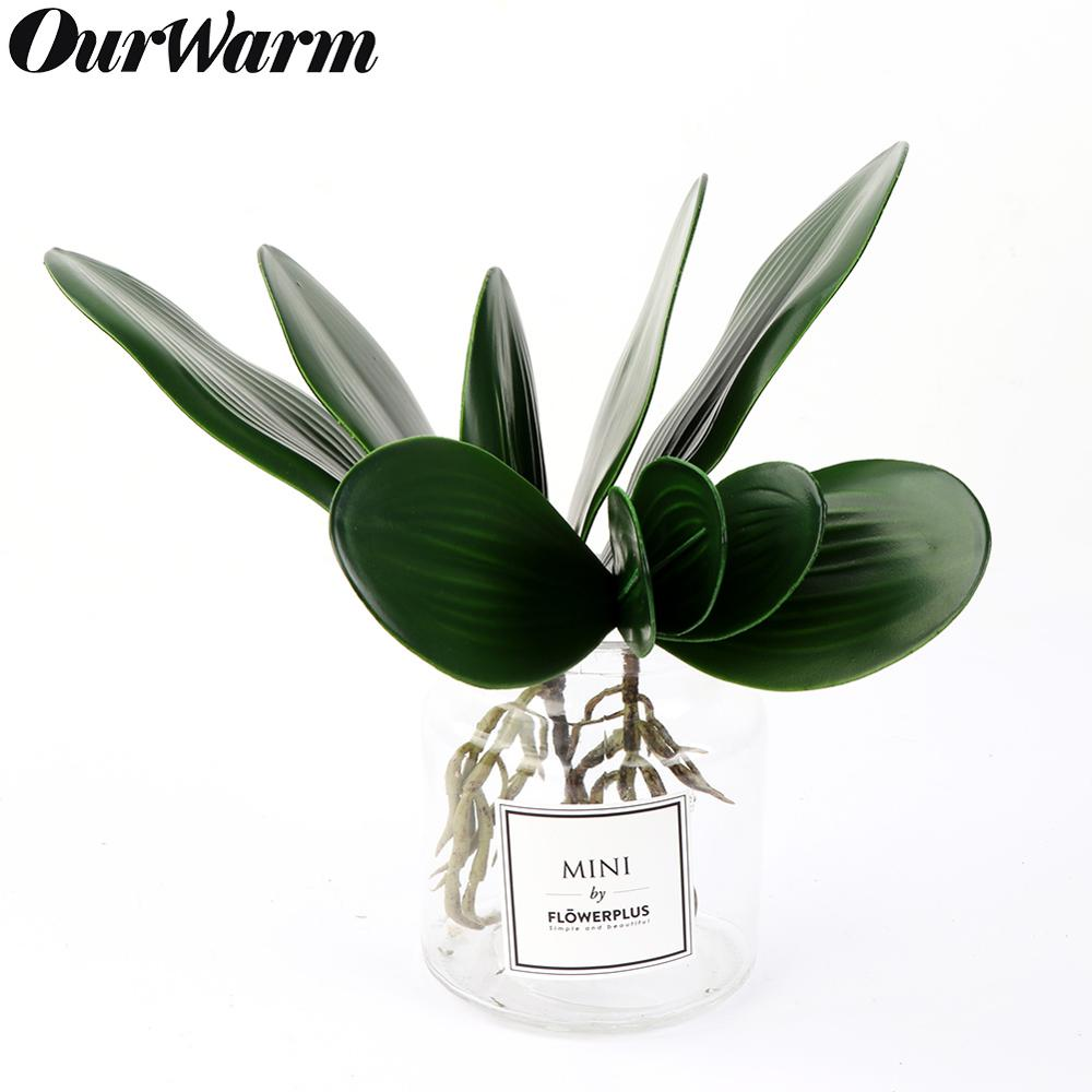 OurWarm Real Touch Green Phalaenopsis Leaf Artificial Plant Home Garden Decoration Accessories Photography Decorative Leaves