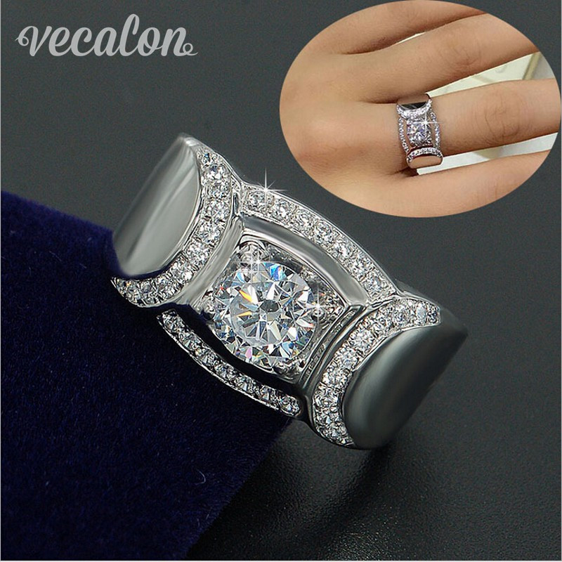 Vecalon Classic Jewelry Men Wedding band Ring 2ct Simulated diamond Cz 925 Sterling Silver male Engagement
