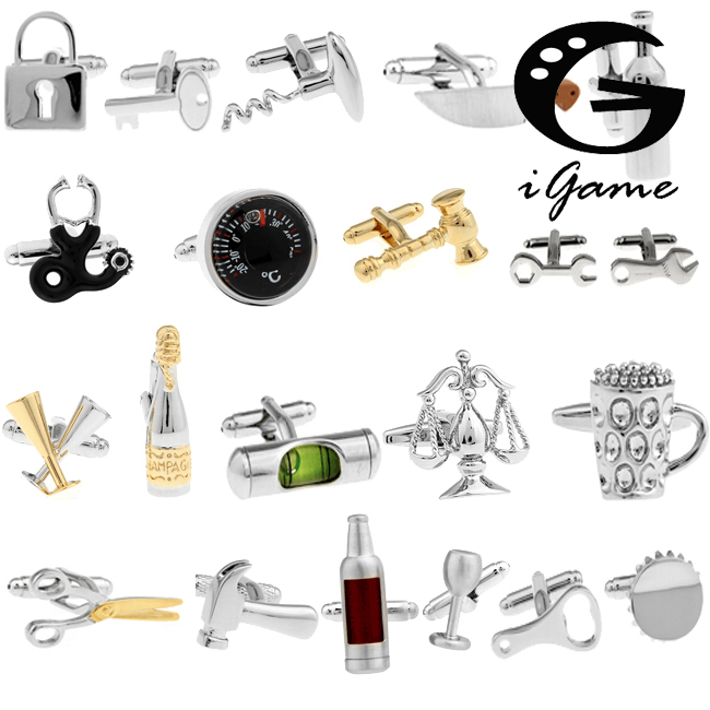 18 Designs Option Men s Fashion Cuff Links Quality Copper Brass Material Novelty Functional Tools Design