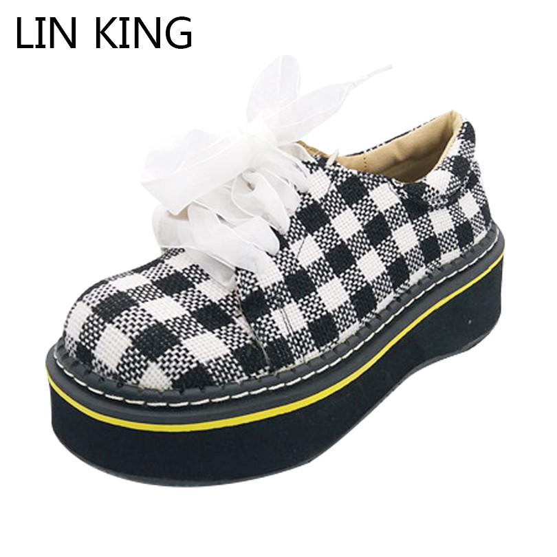 LIN KING Sweet Mixcolor Med Heel Women Pumps Mary Janes Wedges Lolita Shoes Casual Girls Lace Up Ankle Shoes For Spring Autumn lin king women casual shoes leisure lace up wedge shoes fashion low top massage ankle shoes solid massage outdoor single shoes