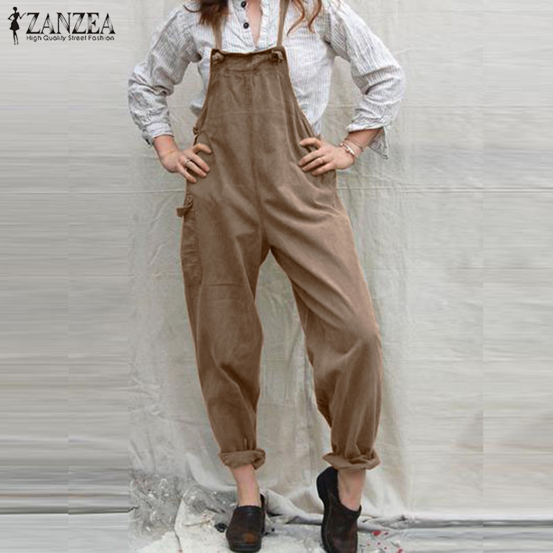 2019 ZANZEA Women Jumpsuits Summer Casual Solid Strappy Pockets Long Playsuits Vintage Party Overalls Female Pants Rompers S 5XL