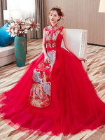 100% реальные красный воротник со стразами и бисером вышивкой павлин красный платье бантом сзади/tradtion платье для костюмированной вечеринки