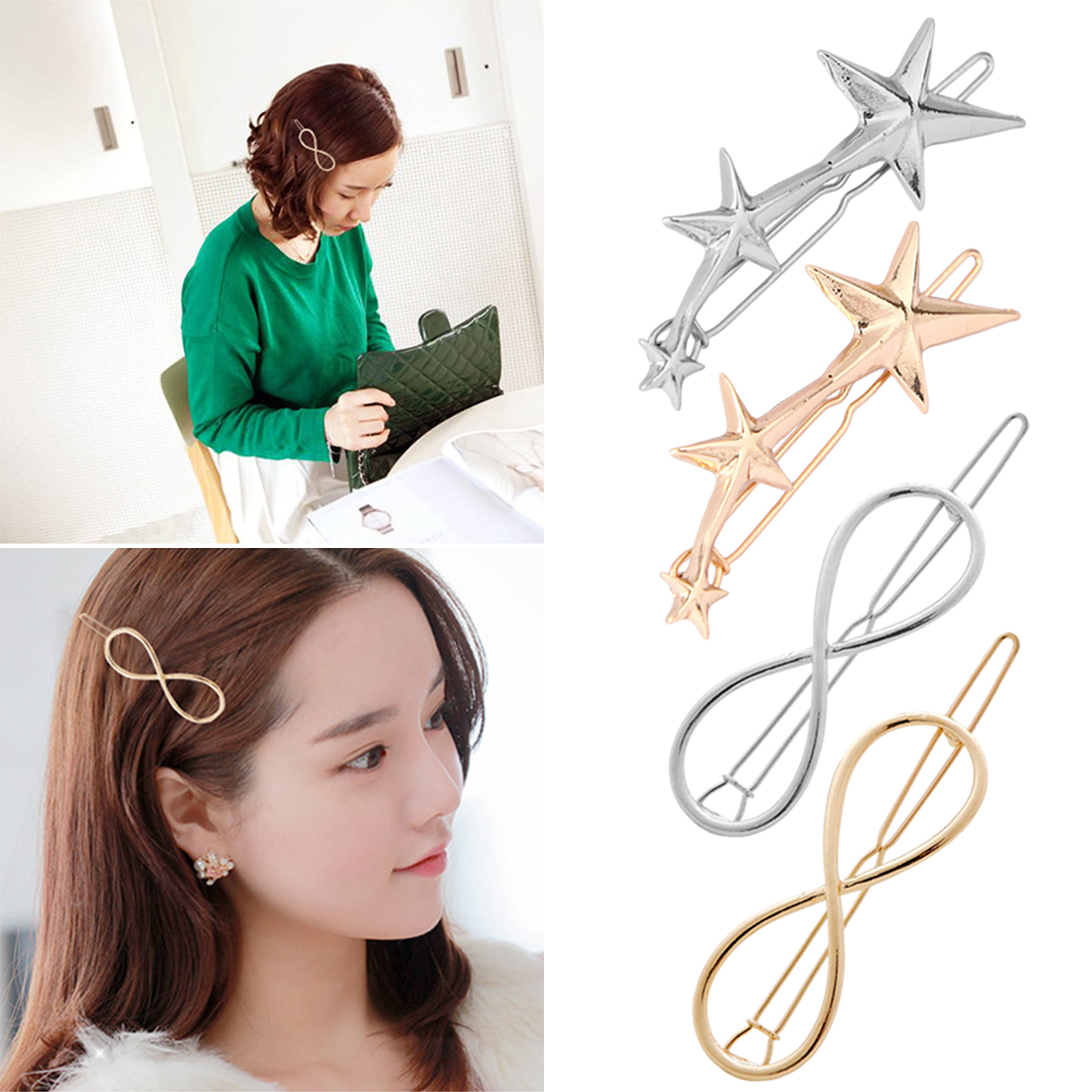 Exaggerated Fashion Ttriangle Star Shaped Gorllden Silver Geometry Styling Hair Clip Hairpin Hair Tools and Accessories Women