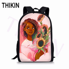 THIKIN Sunflower African Art Girl Print Backpack for Teenage Boys Girls Student School Bags Custom High Bookbag Customize