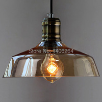 Przemysłowe Edison rocznika Nordic Brown szklana lampa sufitowa wisiorek wiszące światło dla Cafe Bar sala klub sklep restauracja korytarz w Wiszące lampki od Lampy i oświetlenie na