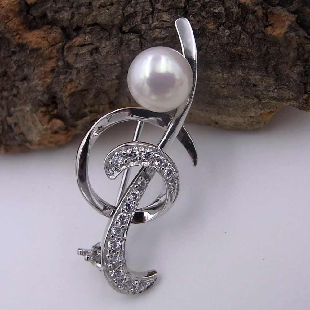 Sinya 925 srebrne broszki z AAAAA naturalne perły tonów wysokich nuty styl dobry prezent dla kobiet z obrotowym spinka podkład