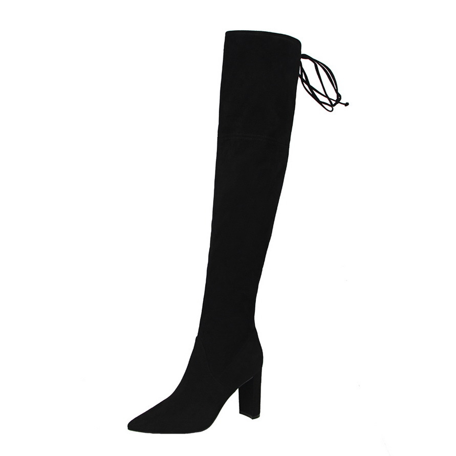 Faux Suede Slim Boots Sexy over the knee high women snow boots women's fashion winter thigh high boots shoes woman nightclubs ppnu woman winter nubuck genuine leather over the knee snow boots women fashion womens suede thigh high boots ladies shoes flats