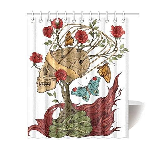 Print Floral Mexican Sugar Skull Rose Snake Polyester