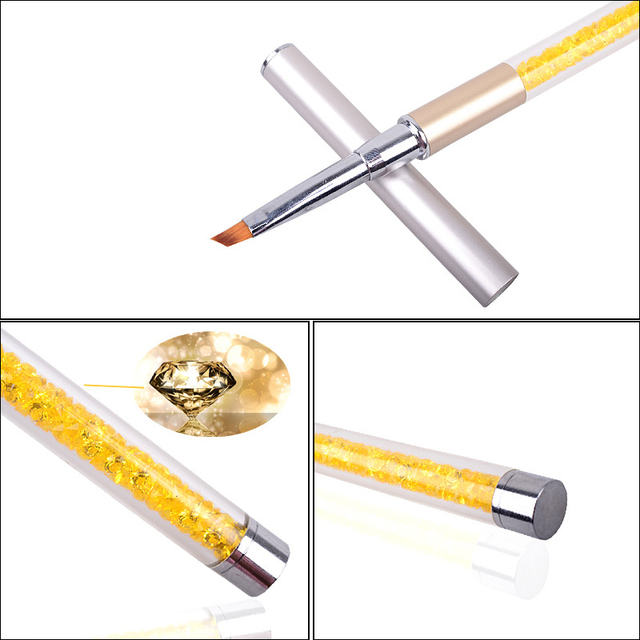 Nail Art Brush Pen Rhinestone Diamond Metal Acrylic Handle Carving Powder Gel Liquid Salon Liner Nail Brushes With Cap 4