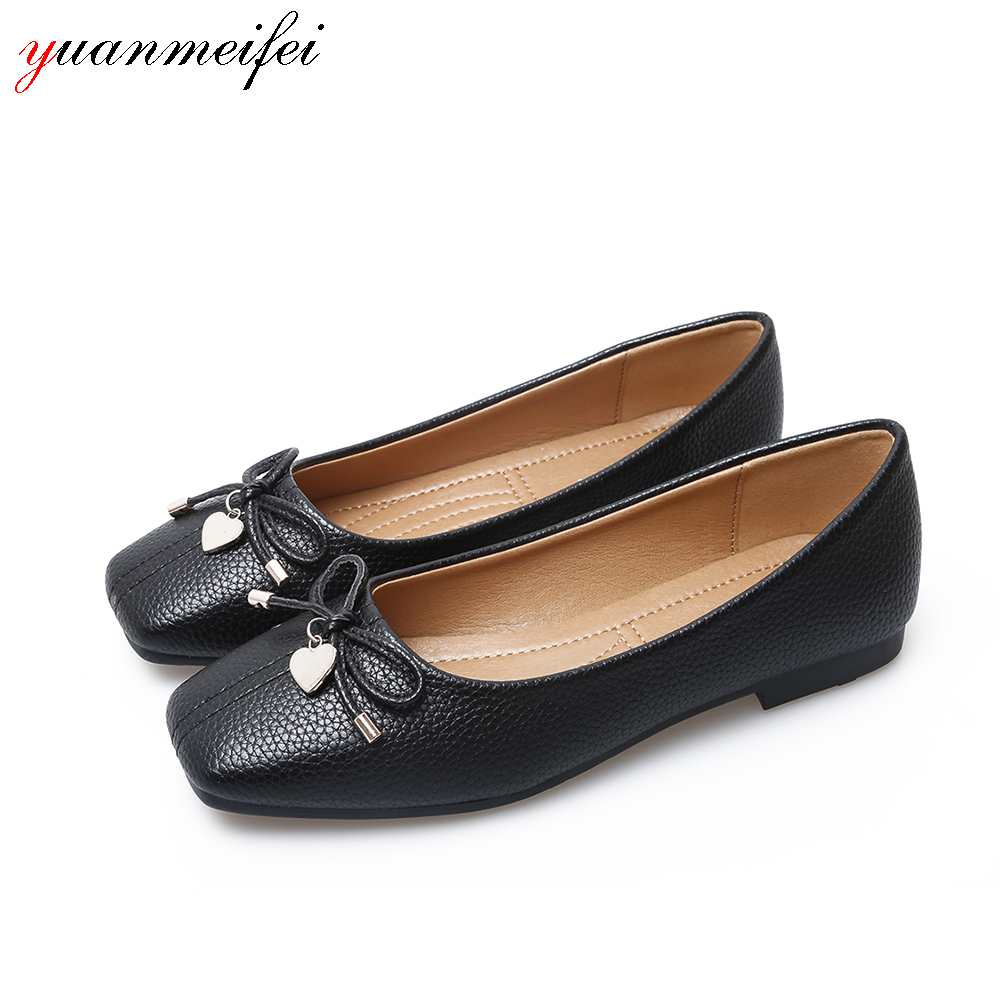 yuanmeifei Women Ballet Flats Shoes Women Plus Size 41 Patent Leather Flat Slip-On Square Toe Bowtie Shoes For Lady New Arrival цена и фото
