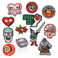 1pcs Hot embroidery cloth stickers, eyes, love, skull, letter, punk, wind, clothing accessories, patch, custom