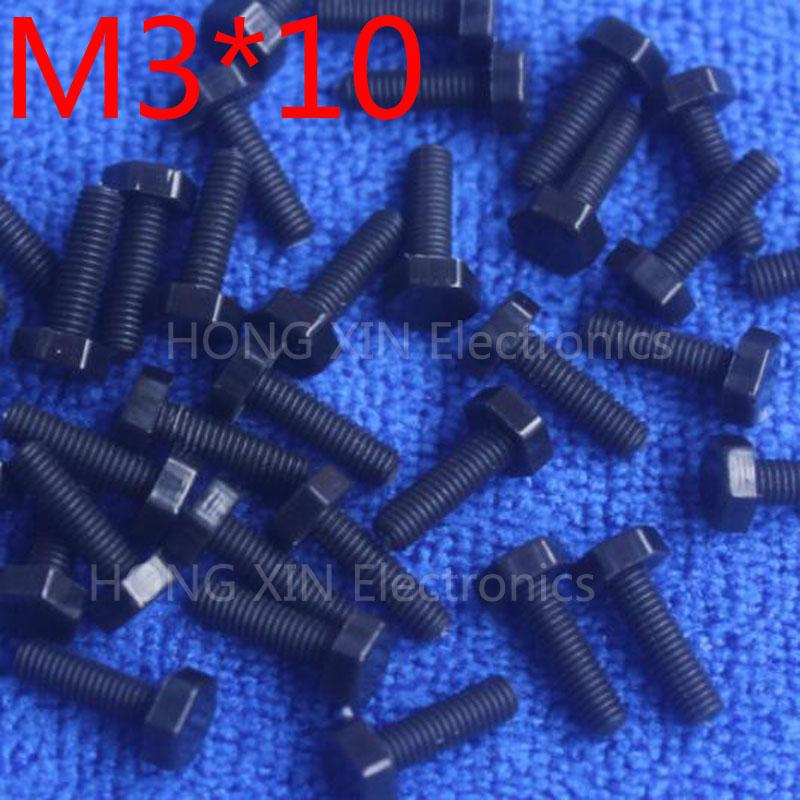 M3*10 10mm black 1pcs Hexagonal nylon Screws plastic Insulation bolts Fasteners brand RoHS compliant PC/board DIY hobby screw