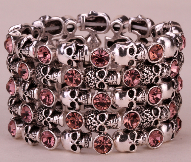 Skull skeleton stretch bracelet for women biker bling jewelry antique gold silver plated W crystal wholesale dropshipping D07