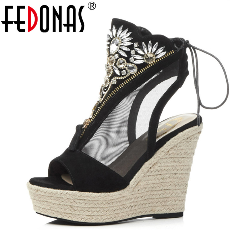 FEDONAS  2018 Women Gladiator Sandals Peep Toe Summer Shoes Cow Suede Wedges Heels Rhinestone Pumps Female Platforms Shoes Woman spring summer new fashion sexy women pumps peep toe wedges platforms high heels sandals shoes woman buckle 35 42 loslandifen
