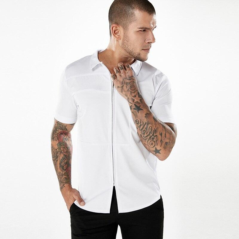 Mens Fashion Zipper Short Sleeve Shirt  2018 Brand New Summer Male Casual Short Sleeve Tee Shirt Men Hip Hop Fashion Shirt