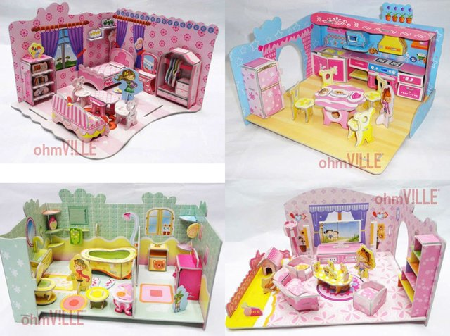 2012 Hot!! wholesale price! 3D paper puzzle (34a551/my little house series) birthday gift, diy toy, 3D Paper model + Free Ship