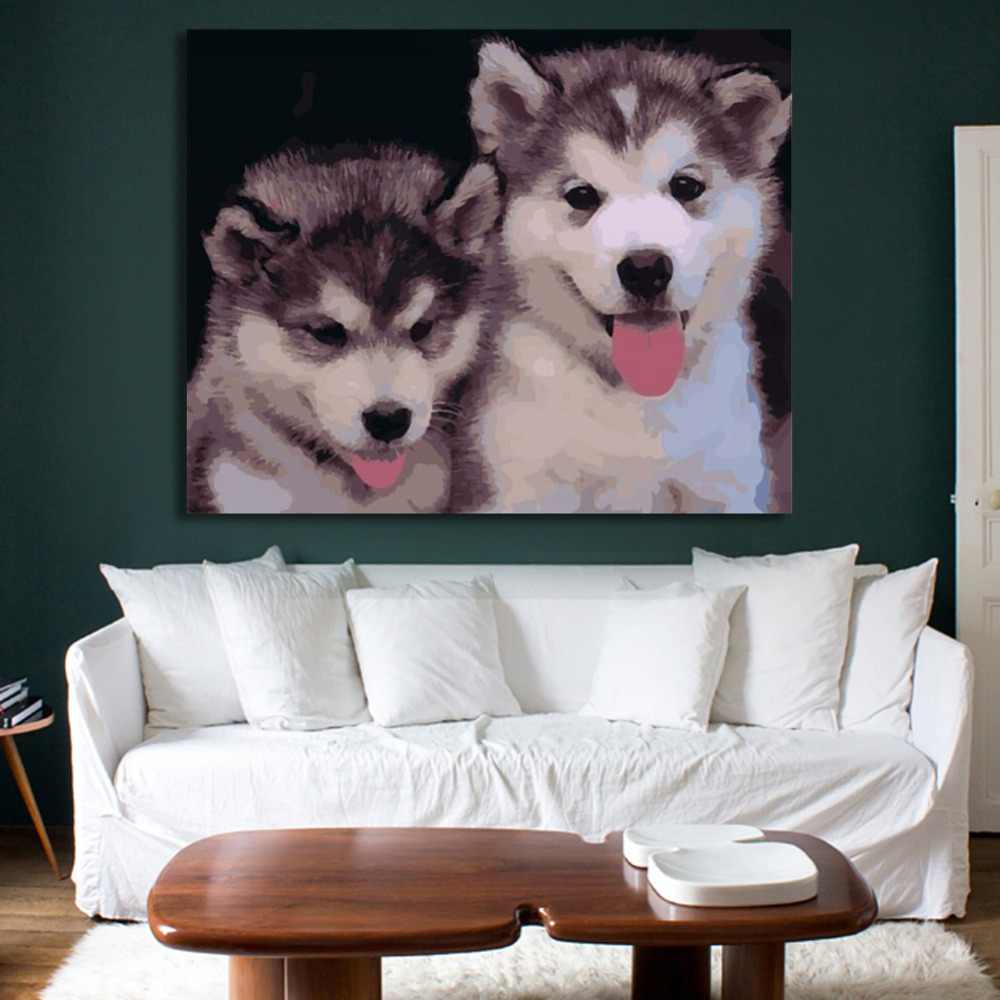 Ween Dua Anjing Lucu Frameless DIY Lukisan dengan Angka Digital Kanvas Lukisan untuk Ruang Tamu, Kamar dinding Seni Gambar 40X50 Cm