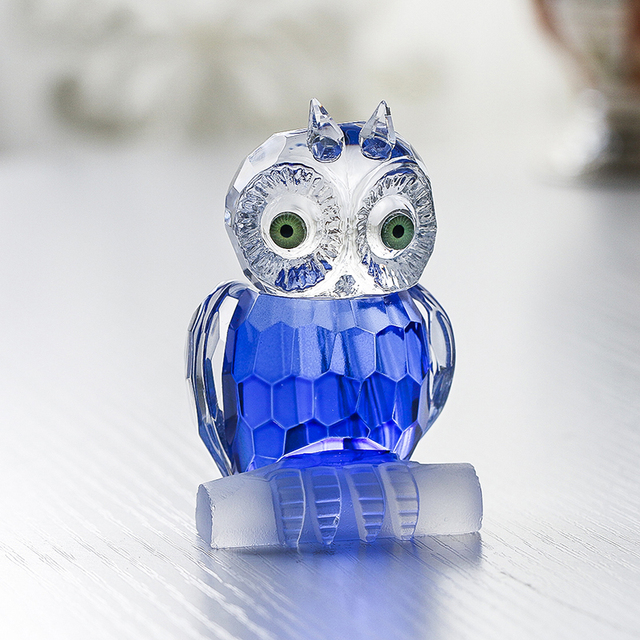 H&D Cute Crystal Owl Figurine Miniatures Art Glass Paperweight Animals Table Centerpiece Ornament Home Decor Kid's Gift(Blue) 4