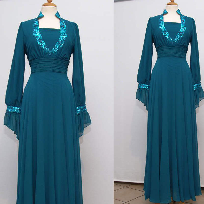 Real Arabic Evening Dress Evening Gown Evening Wear Floor length Long Sleeve With Wrap font b