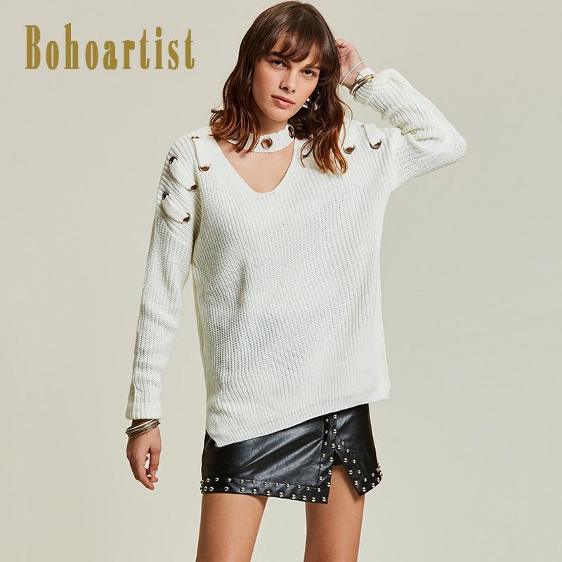 Bohoartist 2018 Autumn <font><b>Women</b></font> <font><b>Sweater</b></font> White Fashion <font><b>V</b></font> <font><b>Neck</b></font> Hollow Out <font><b>Lace-Up</b></font> <font><b>Winter</b></font> Ladies Casual Bohomian Knitwear <font><b>Sweaters</b></font> <font><b>New</b></font>