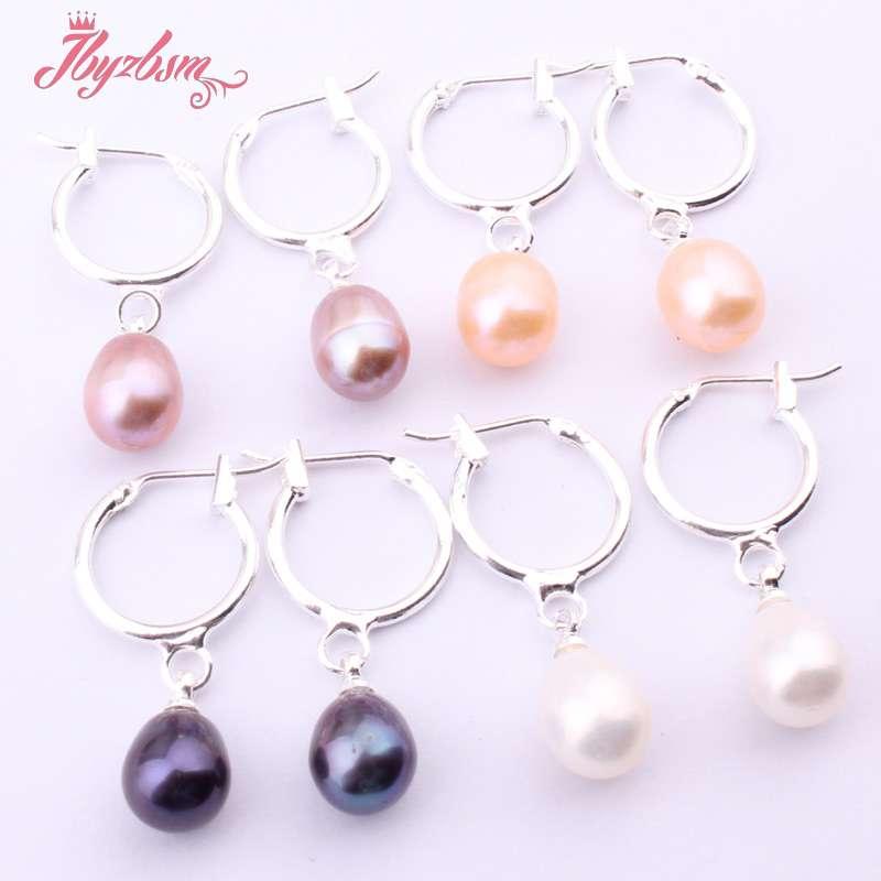 Wholesale 4 Pairs 6-7mm Freshwater Pearl Dangle Earrings Silver Hooks