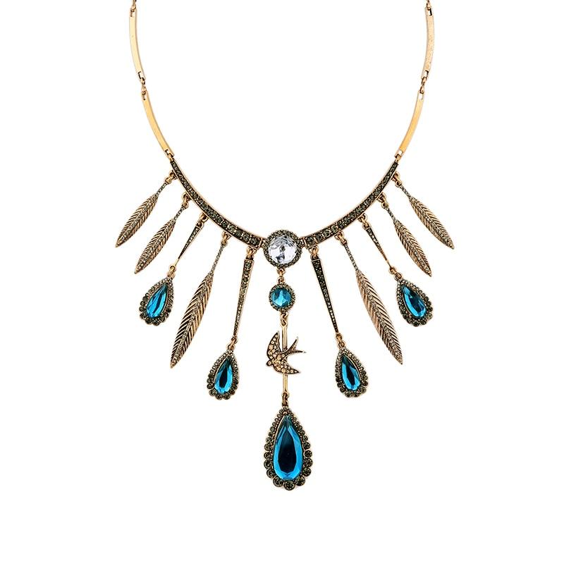 Laut biru air-drop pendant peacock tail charm choker kalung burung feather  vintage etnis choker kerah kalung wanita 151800bc72