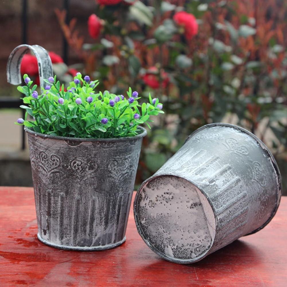 Details about  /Flower Pot New Vintage Metal Handicraft Home Garden Decor Plant Flowers Bucket