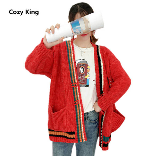 f8639e7e3b1 Cozy King plus size women sweater coat 2018 autumn and winter new fashion  wild v-neck embroidery women s knit cardigan sweater