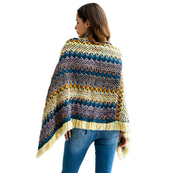 Winter loose pullover V-neck bat-style cloak large size rainbow Tassels sweater female pullover sweater women pull femme hiver 8
