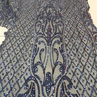 Hot Sale French Lace With Sequins 5yards Lot Cheap African Dark Blue Lace Fabric High Quality
