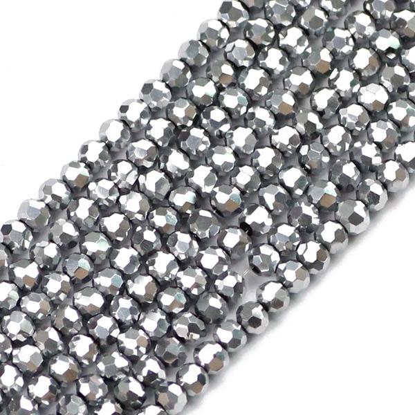 JHNBY, футбольные граненые Австрийские кристаллы, 200 шт, 3 мм, цветные круглые бусины, ювелирные изделия, браслет, аксессуары, сделай сам - Цвет: QZ3105 Silver