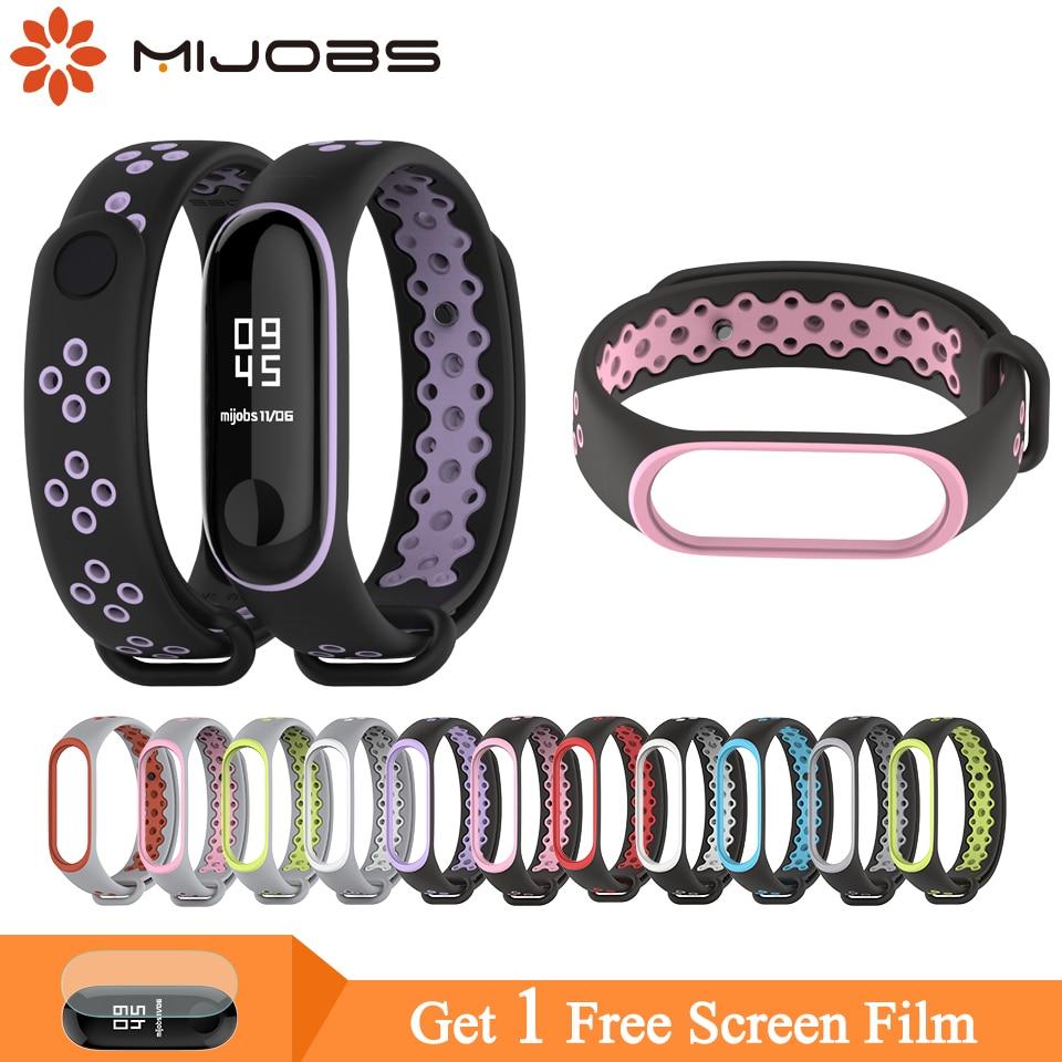 Mijobs Mi Band 3 Strap Bracelet Wrist Strap For Xiaomi Mi Band 4 Sport Silicone Bracelet For Xiaomi Mi Band 3 4 Smart Watch