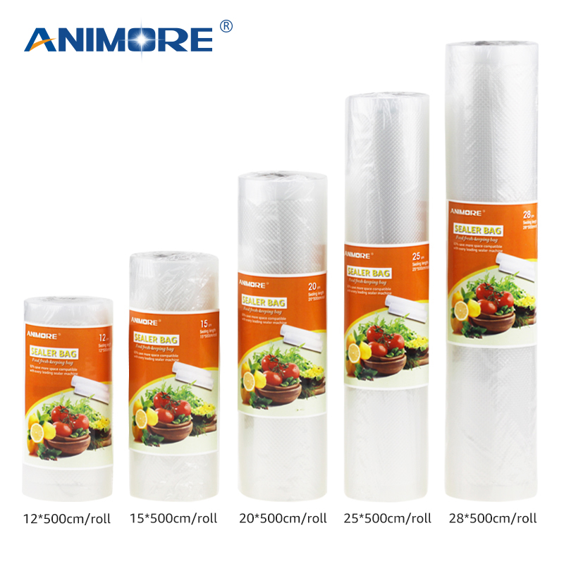 ANIMORE Kitchen Food Vacuum Bag Plastic Storage Bags For Vacuum Sealer Food Fresh Long Keeping 12+15+20+25+28cm*500cm 5Rolls/Lot