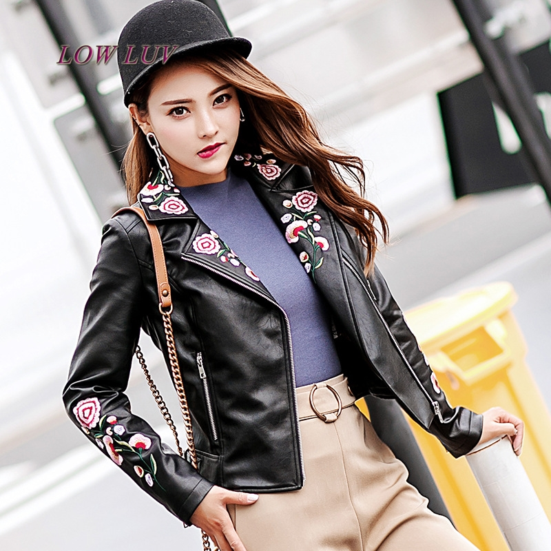 2017 Autumn Black   Leather   Jacket Lady Short PU Embroidery Jackets Women Winter Embroidery Coat AL355 jaqueta de couro