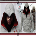 A nova moda de alta qualidade 2016 assassins creed cardigan zipper dos homens do velo dos homens com capuz casacos de lã zip usado fora S-3XL