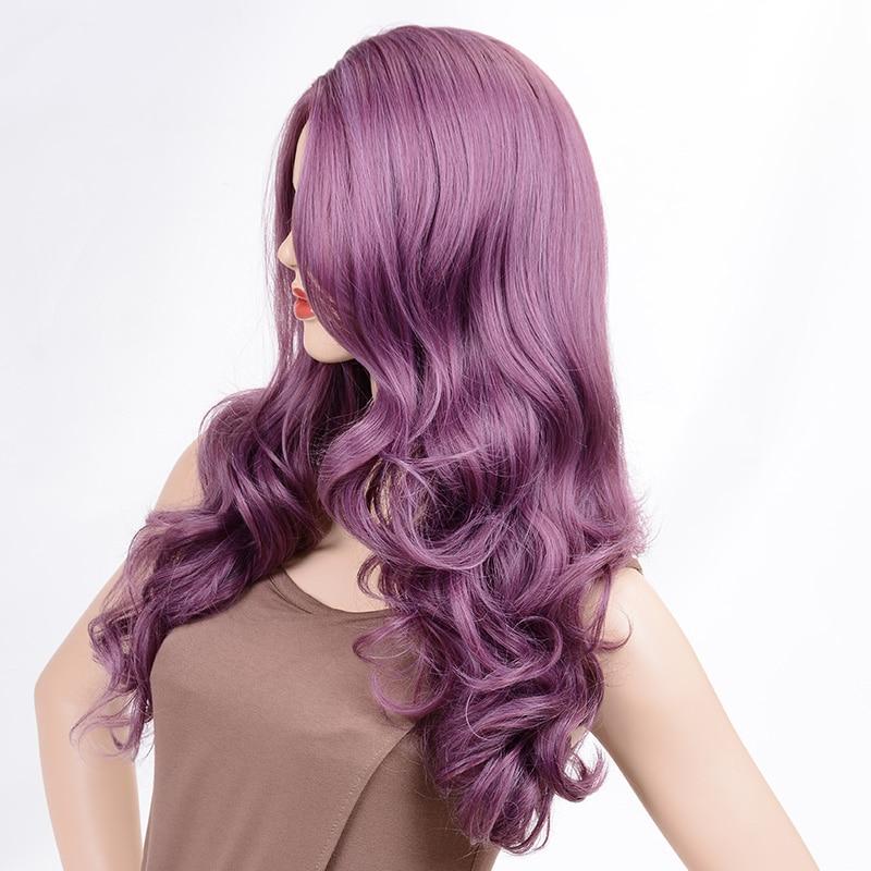 Msiwigs perucas onduladas cabelo roxo longo peruca