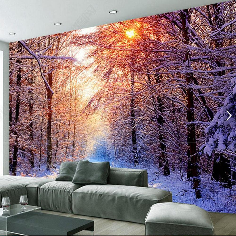 Winte Snow Sunshine Tree HD Photo Wallpaper Sofa TV Background Murals Wall Art Decor Abstract Wall Paper Rolls 3D Custom Size