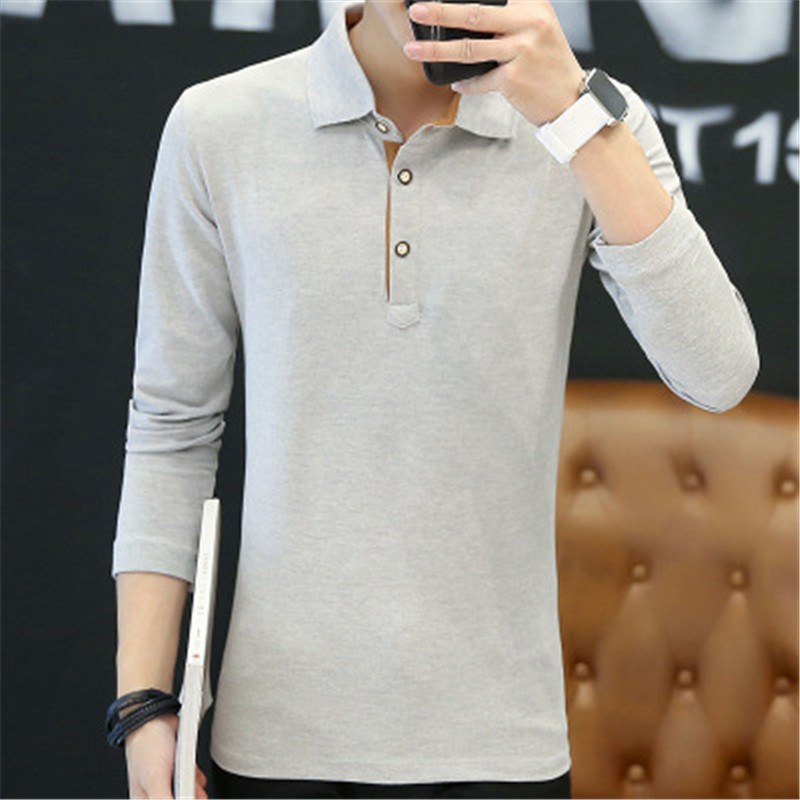 2018 New Fashion Men Polo Shirts Long sleeve Solid color Slim Fit Cotton Mens Polos Shirt M-3XL Male Clothing 6