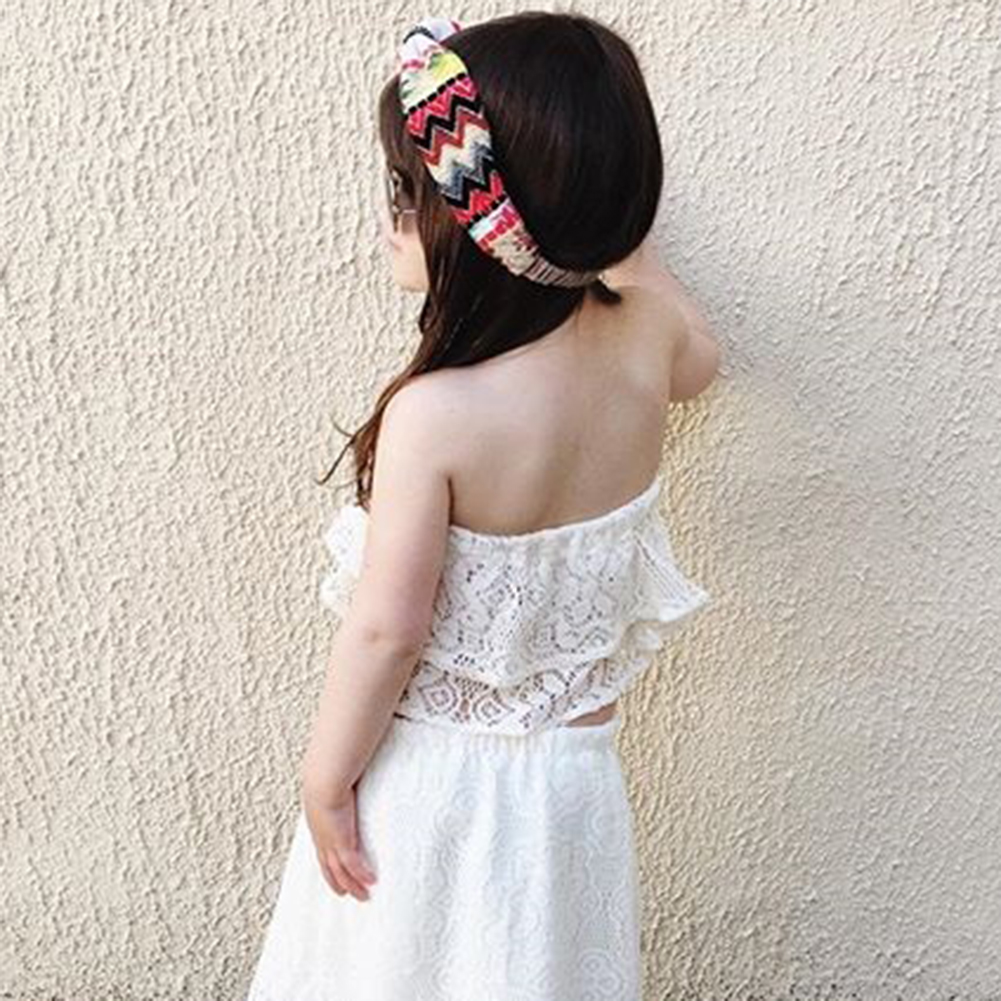 2017 2pcs Baby Girls Clothes Set Summer Kids Girl Lace Princess Skirt Tops White Clothing