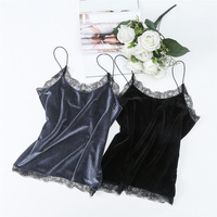 Fashion Elegant Sexy Lace O Neck Velvet Crop Tops 2017 Summer Women Sleeveless Slim Velour Short