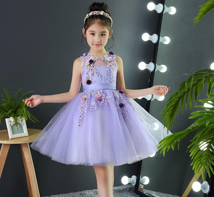 Elegant Violet Lace Flower Girls Dresses Appliques Kids Pageant Party First Communion Dresses for Little Girls