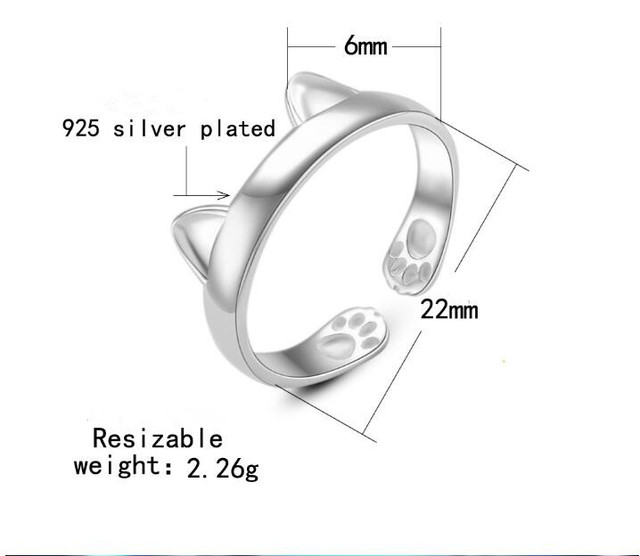 KITTY cat silver ring
