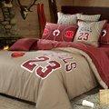 Hot chicago bulls #23 Michael Jordan baloncesto juego de cama Bordada ropa de cama de algodón Egipcio colcha llena queen king size
