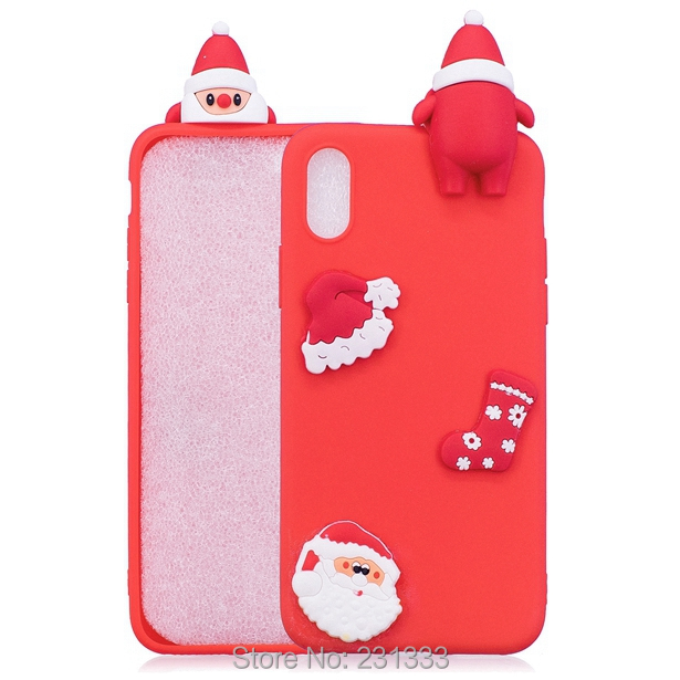 C-ku 3D Merry Christmas Tree Soft TPU Case For Iphone X 8 7 PLUS 6 6S SE 5 5S Huawei P8 LITE 2017 P10 Santa Claus Deer Skin 1pcs