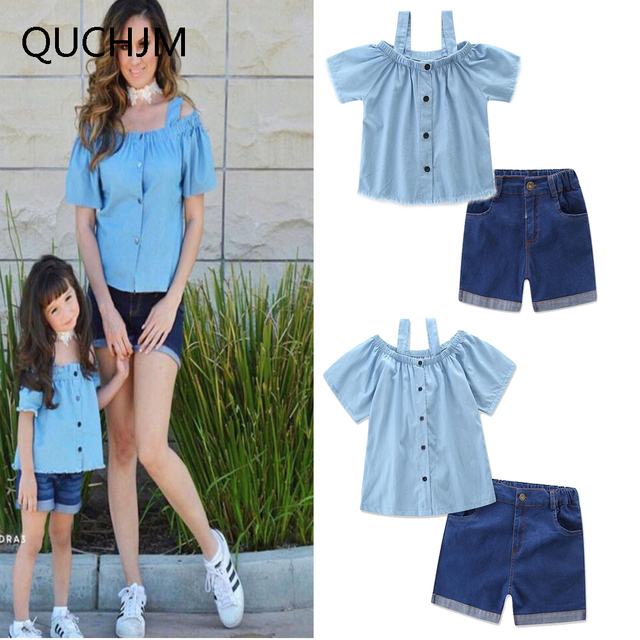 Family Matching fashion Mom and daughter Clothes Baby 's ...