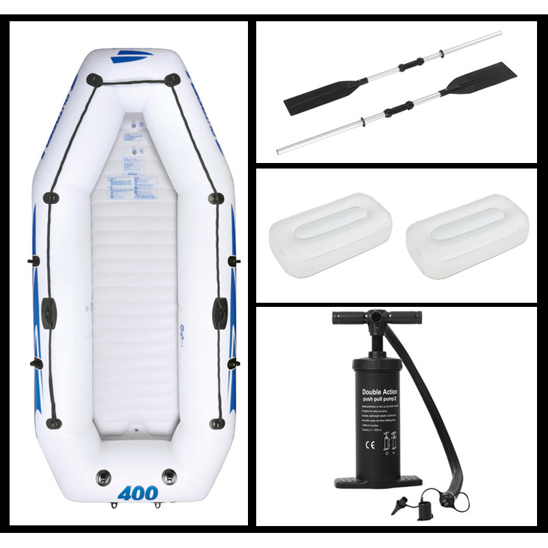 3+1 Person Inflatable Boat Fishing Boat Deflated Size 305*157cm Aluminium Oar Hand Pump Carry Bag 2 Cushions Repair Kit A07004 Removing Obstruction