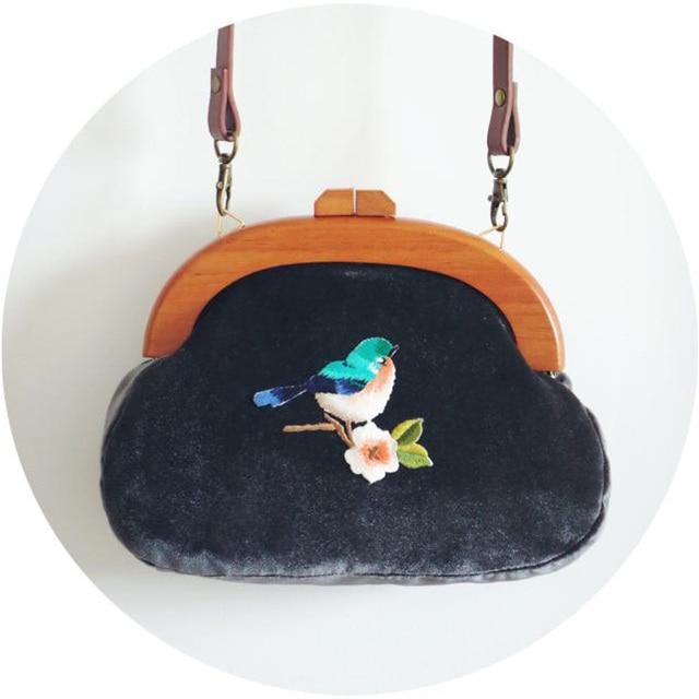Handmade Embroidery Bag Vintage Velour Clutch Bag with Bird Flower Beautiful Bird Velvet Handbag Wooden Handle Dark Blue